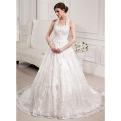 Ball-Gown Halter Chapel Train Lace Wedding Dress With Beading Sequins