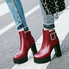 Women's PU Chunky Heel Pumps Platform Ankle Boots With Buckle Zipper shoes