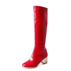 Women's Patent Leather Chunky Heel Knee High Boots shoes