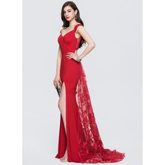 Sheath/Column Off-the-Shoulder Sweep Train Lace Evening Dress With Split Front