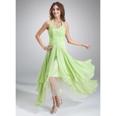 A-Line/Princess Halter Asymmetrical Chiffon Holiday Dress With Ruffle Beading Appliques Lace Sequins