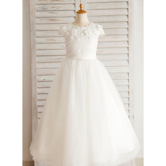 Ball Gown Floor-length Flower Girl Dress - Satin/Tulle/Cotton/Spandex Short Sleeves Scoop Neck With Beading/Appliques
