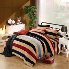 Modern/Contemporary Flannel Comforters (4pcs :1 Duvet Cover 1 Flat Sheet 2 Shams)