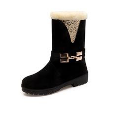 Women's Suede Low Heel Ankle Boots With Fur shoes