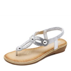 Women's Leatherette Flat Heel Sandals Wedges Peep Toe With Crystal Imitation Pearl shoes