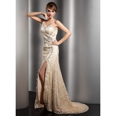 A-Line/Princess One-Shoulder Sweep Train Lace Mother of the Bride Dress With Beading Split Front