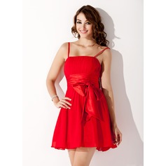 A-Line/Princess Short/Mini Chiffon Homecoming Dress With Ruffle Bow(s)