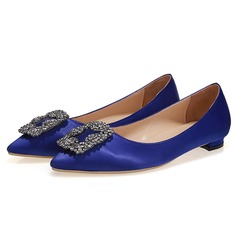 Women's Satin Flat Heel Flats With Rhinestone shoes