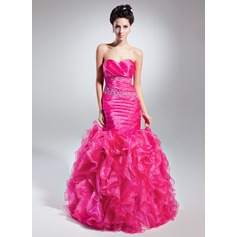 Empire Sweetheart Floor-Length Organza Prom Dress With Beading Cascading Ruffles