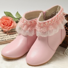 Girl's Closed Toe Mid-Calf Boots Leatherette Flat Heel Flats Boots With Imitation Pearl Flower