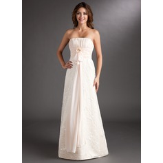 Empire Strapless Sweep Train Chiffon Lace Bridesmaid Dress With Ruffle