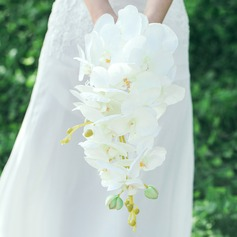 Pure Cascade Artificial Silk Bridal Bouquets