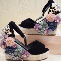 Women's Suede Wedge Heel Sandals Pumps Platform Wedges Peep Toe With Rhinestone Crystal Imitation Pearl Flower shoes