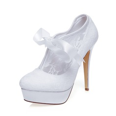 Women's Lace Stiletto Heel Closed Toe Platform Pumps