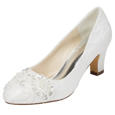 Women's Satin Chunky Heel Closed Toe With Sequin Stitching Lace
