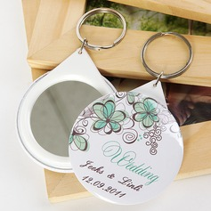 Personalized Floral Design Plastic Keychains/Compact Mirror  (118030143)