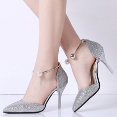Women's Sparkling Glitter Spool Heel Closed Toe Pumps With Pearl