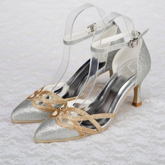 Women's Sparkling Glitter Stiletto Heel Pumps Sandals With Hollow-out