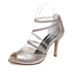 Women's Leatherette Stiletto Heel Peep Toe Sandals