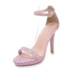 Women's Sparkling Glitter Stiletto Heel Sandals Pumps Platform Peep Toe With Buckle shoes