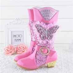 Girl's Closed Toe Leatherette Low Heel Boots Flower Girl Shoes With pompom