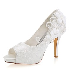 Women's Lace Silk Like Satin Stiletto Heel Peep Toe With Stitching Lace Flower