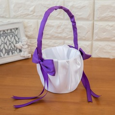 Lovely Flower Basket in Satin With Bow/Ribbons