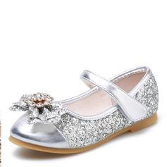 Muchacha Encaje Punta Cerrada Sparkling Glitter Talón plano Planos Zapatos de niña de las flores con Bowknot Velcro