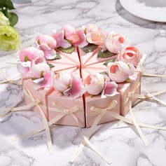 Sweet Love/Creative/Lovely/Elegant Cubic Card Paper Favor Boxes With Flowers/Ribbons