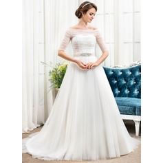 A-Line/Princess Off-the-Shoulder Chapel Train Tulle Wedding Dress With Ruffle Beading Sequins