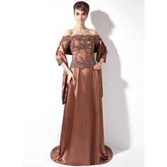 A-Line/Princess Off-the-Shoulder Sweep Train Charmeuse Mother of the Bride Dress With Lace Beading Sequins