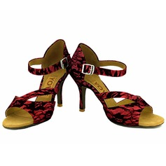 Women's Lace Heels Latin Salsa With Buckle Hollow-out Dance Shoes