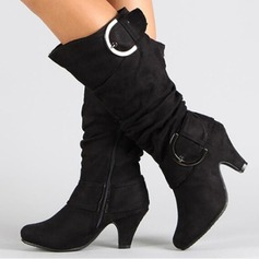 Women's Suede Stiletto Heel Closed Toe Boots Knee High Boots With Buckle shoes