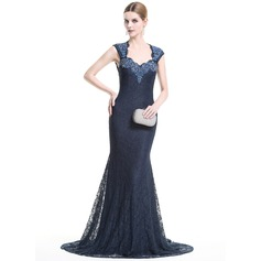 Trumpet/Mermaid Sweetheart Sweep Train Lace Evening Dress With Beading