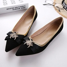 Women's Suede Flat Heel Pumps Closed Toe With Ribbon Tie shoes