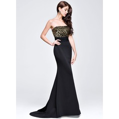 Trumpet/Mermaid Sweetheart Sweep Train Chiffon Sequined Prom Dress With Ruffle