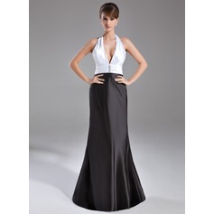 Trumpet/Mermaid Halter Sweep Train Charmeuse Evening Dress With Ruffle Beading