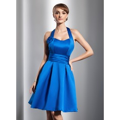 A-Line/Princess Halter Knee-Length Satin Bridesmaid Dress With Ruffle Flower(s)