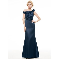 Trumpet/Mermaid Off-the-Shoulder Floor-Length Charmeuse Evening Dress With Ruffle