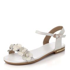 Женщины PU Плоский каблук Сандалии На плокой подошве Открытый мыс с Имитация Перл пряжка обувь