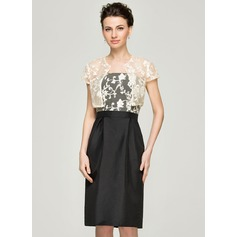 Sheath/Column Strapless Knee-Length Taffeta Lace Mother of the Bride Dress With Beading Sequins