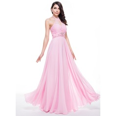 A-Line/Princess Halter Floor-Length Chiffon Prom Dress With Ruffle Lace Beading Sequins