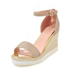 Women's Sparkling Glitter Wedge Heel Pumps Platform Wedges Peep Toe With Buckle shoes