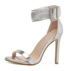 Женщины PU Высокий тонкий каблук Сандалии На каблуках Открытый мыс с пряжка обувь