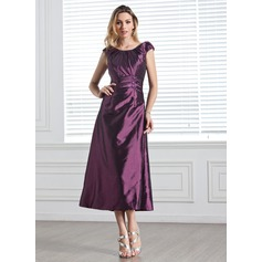 A-Line/Princess Scoop Neck Tea-Length Taffeta Bridesmaid Dress With Ruffle Beading Sequins