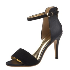 Women's Suede Leatherette Stiletto Heel Sandals Peep Toe With Buckle shoes