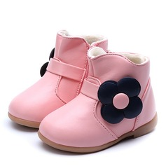 Girl's Round Toe Closed Toe Ankle Boots Microfiber Leather Flat Heel Boots With Flower Zipper