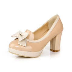 Patent Leather Chunky Heel Pumps Closed Toe With Bowknot shoes
