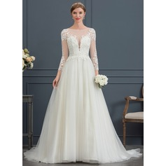 Robe Marquise Col rond Traîne moyenne Tulle Robe de mariée