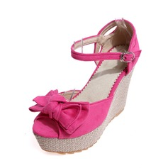Women's Suede Wedge Heel Pumps Wedges With Bowknot shoes